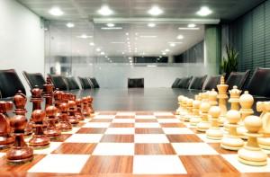 chessboard in a boardroom