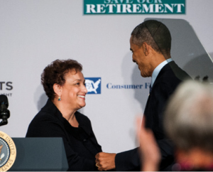 AARP CEO Jo Ann Jenkins greets President Barack Obama before he delivers a speech at AARP headquarters in Washington D.C. last year.